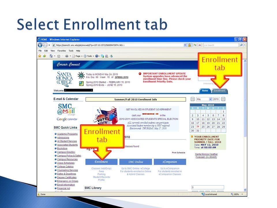Enrollment tab