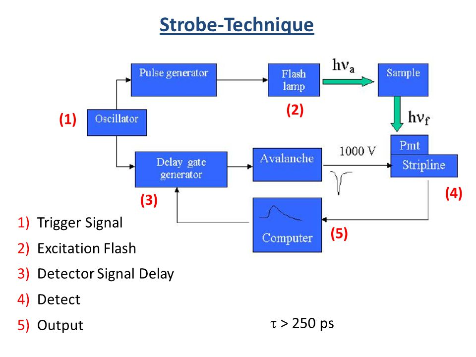 (1) (2) (3) (4) (5) Strobe-Technique 1) Trigger Signal 2) Excitation Flash 3) Detector Signal Delay 4) Detect 5) Output > 250 ps