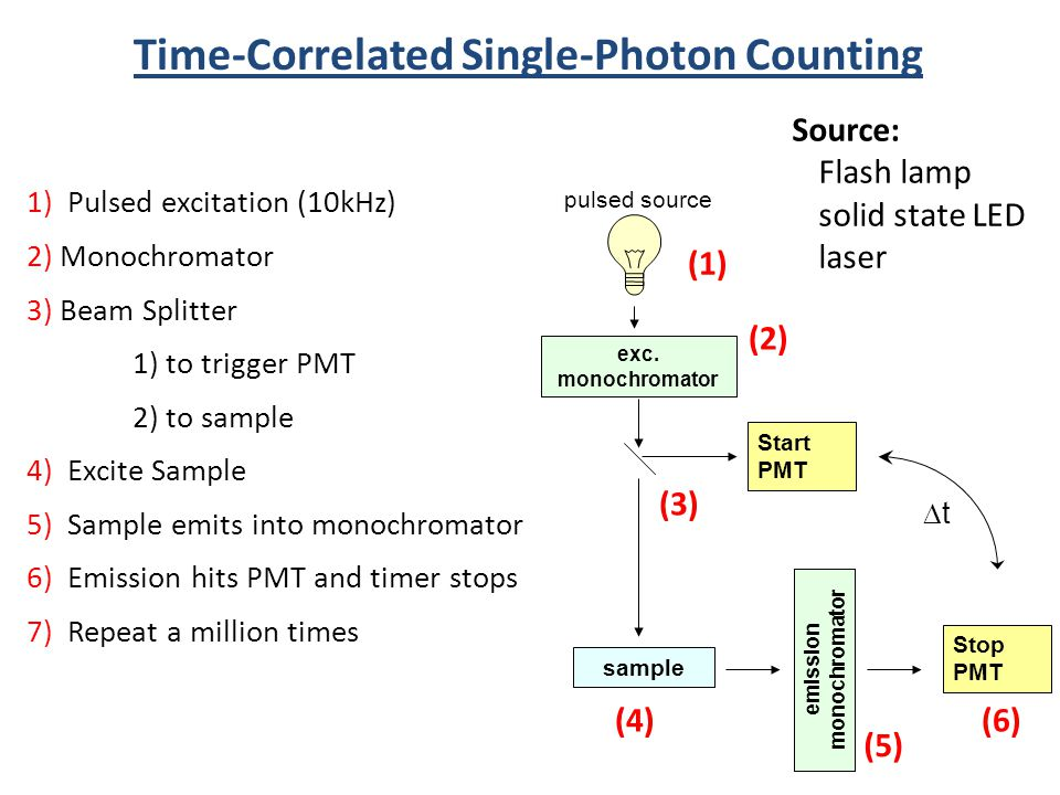Time-Correlated Single-Photon Counting Source: Flash lamp solid state LED laser Start PMT Stop PMT sample exc. monochromator emission monochromator pu
