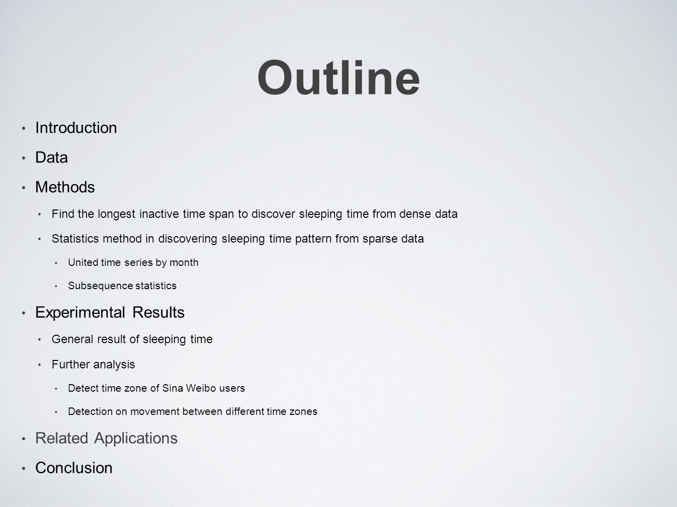 Outline Introduction Data Methods Find the longest inactive time span to discover sleeping time from dense data Statistics method in discovering sleeping time pattern from sparse data United time series by month Subsequence statistics Experimental Results General result of sleeping time Further analysis Detect time zone of Sina Weibo users Detection on movement between different time zones Related Applications Conclusion