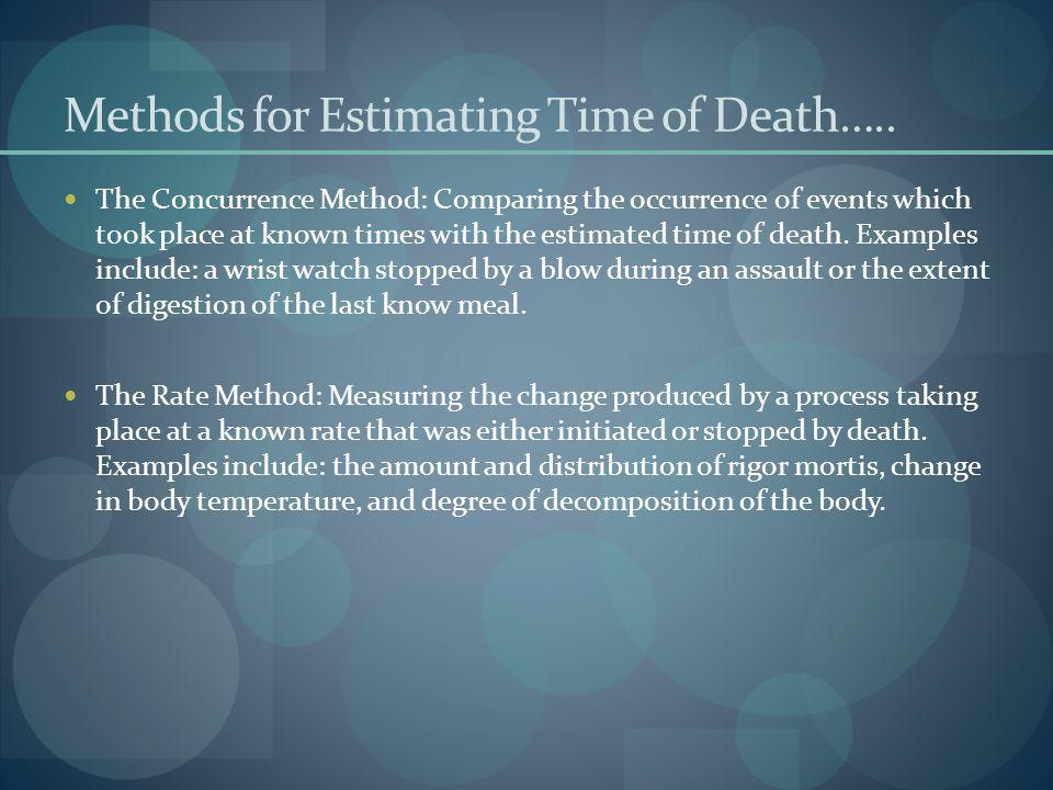 Methods for Estimating Time of Death….. The Concurrence Method: Comparing the occurrence of events which took place at known times with the estimated