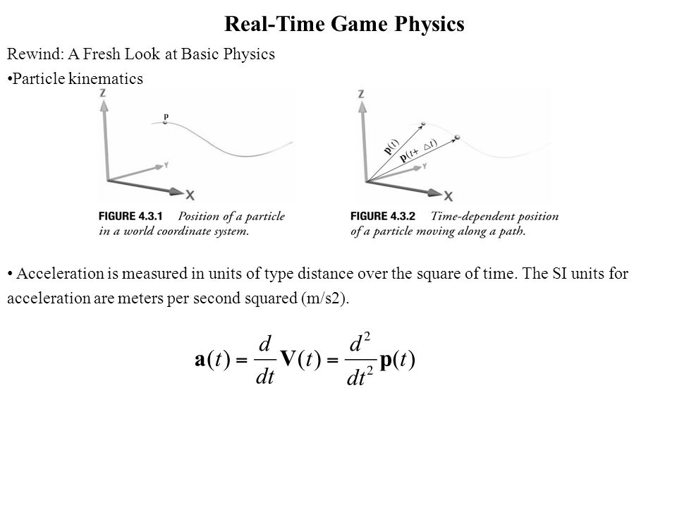 Real-Time Game Physics Rewind: A Fresh Look at Basic Physics Particle kinematics Acceleration is measured in units of type distance over the square of