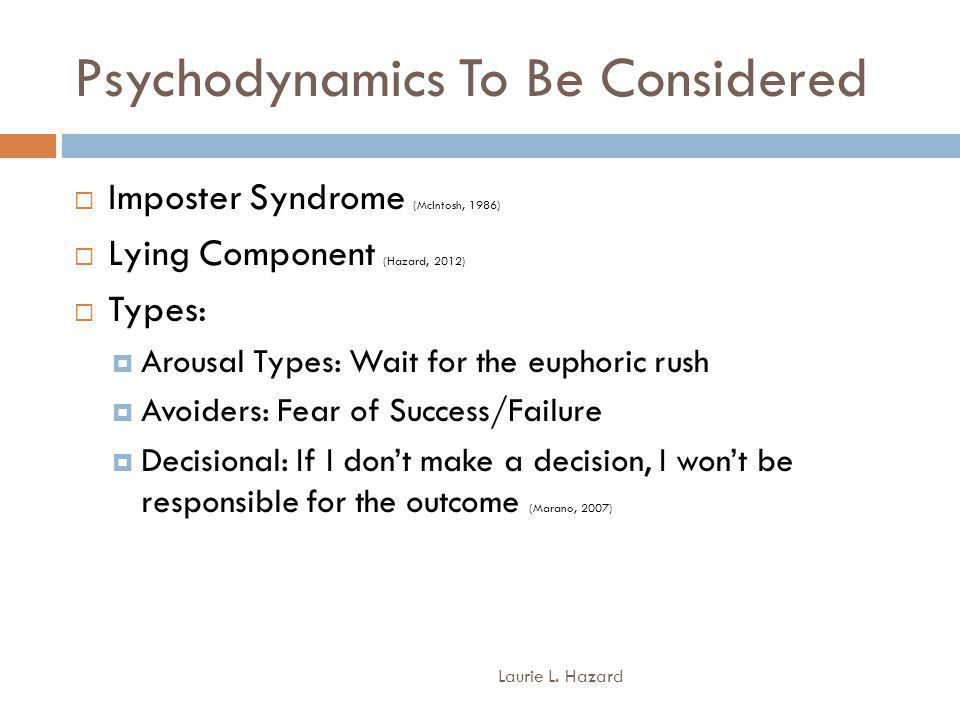 Psychodynamics To Be Considered Laurie L.
