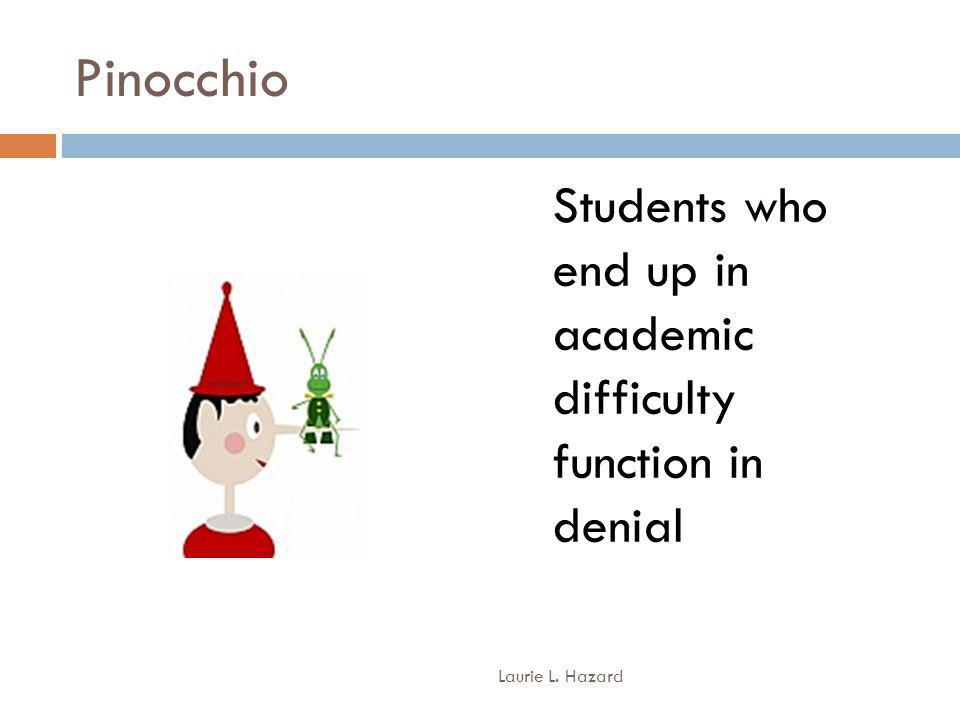 Pinocchio Students who end up in academic difficulty function in denial Laurie L. Hazard