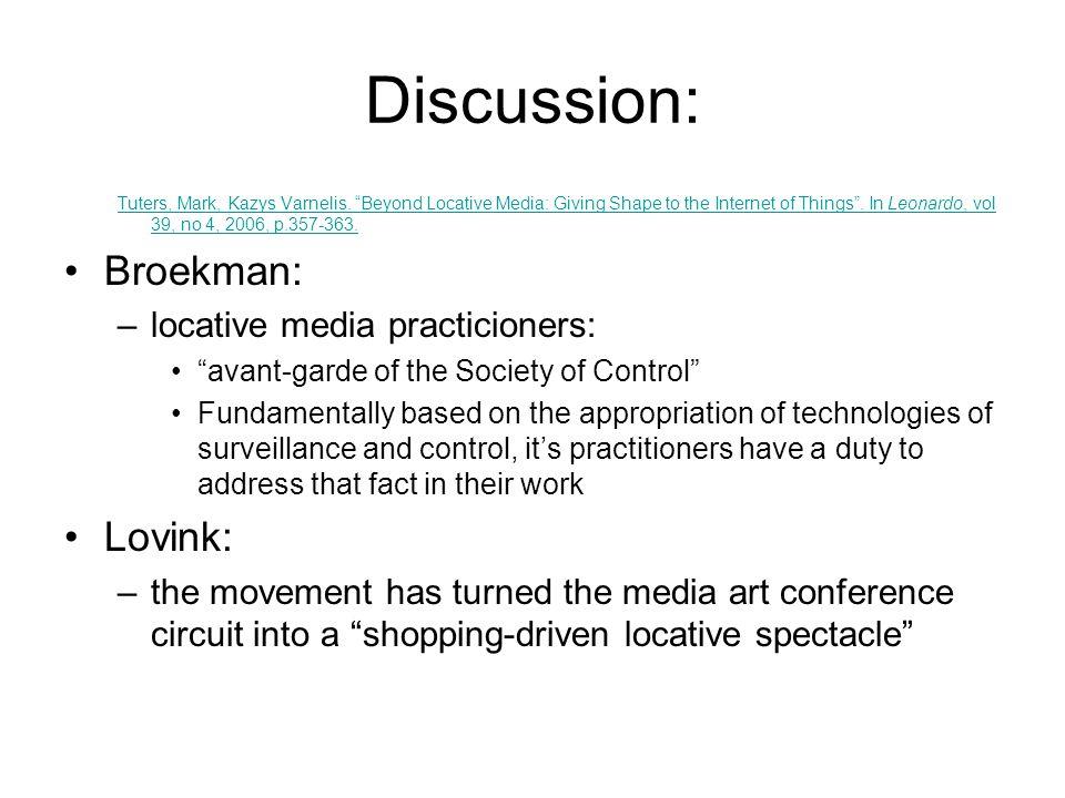 Discussion: Tuters, Mark, Kazys Varnelis.