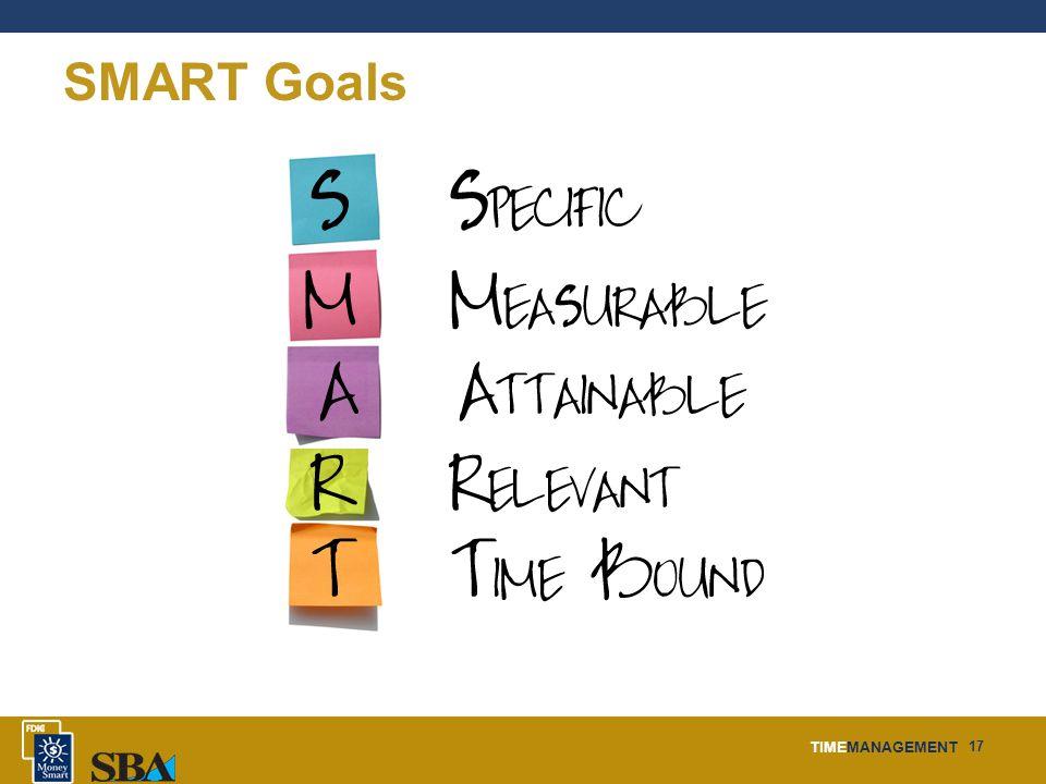 TIMEMANAGEMENT 17 SMART Goals