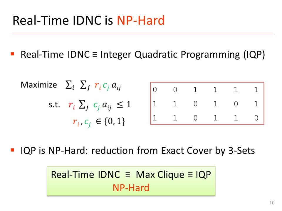 Real-Time IDNC is NP-Hard 10 Real-Time IDNC Max Clique IQP NP-Hard IQP is NP-Hard: reduction from Exact Cover by 3-Sets Real-Time IDNC Integer Quadrat