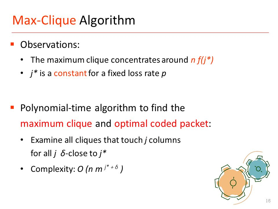 Max-Clique Algorithm 15 Observations: The maximum clique concentrates around n f(j*) j* is a constant for a fixed loss rate p Polynomial-time algorith