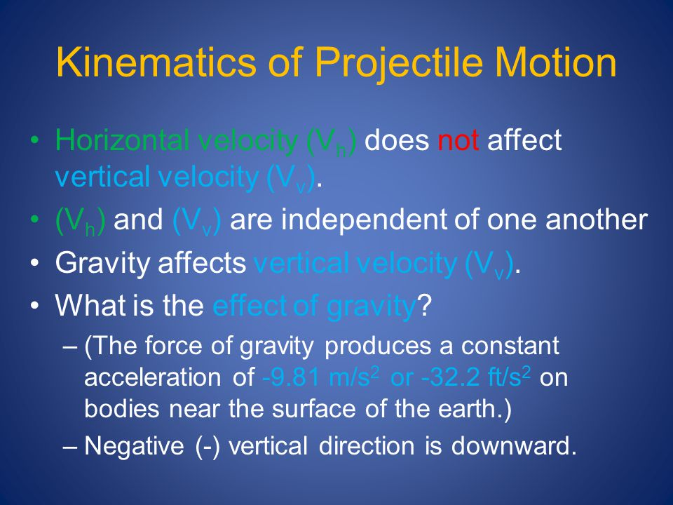 Kinematics of Projectile Motion Horizontal velocity (V h ) does not affect vertical velocity (V v ). (V h ) and (V v ) are independent of one another
