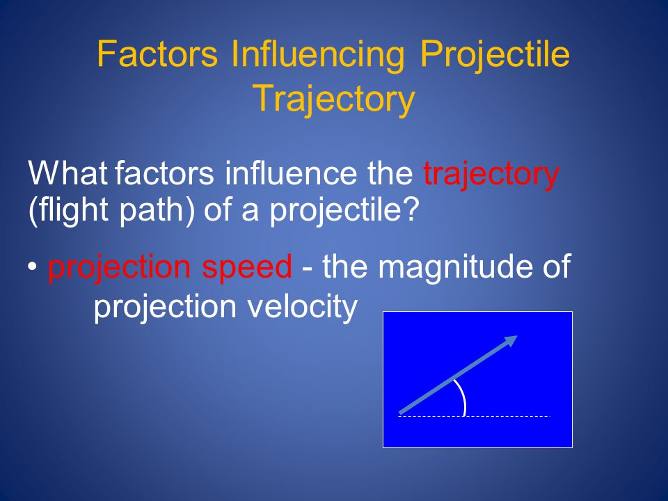 Factors Influencing Projectile Trajectory What factors influence the trajectory (flight path) of a projectile.
