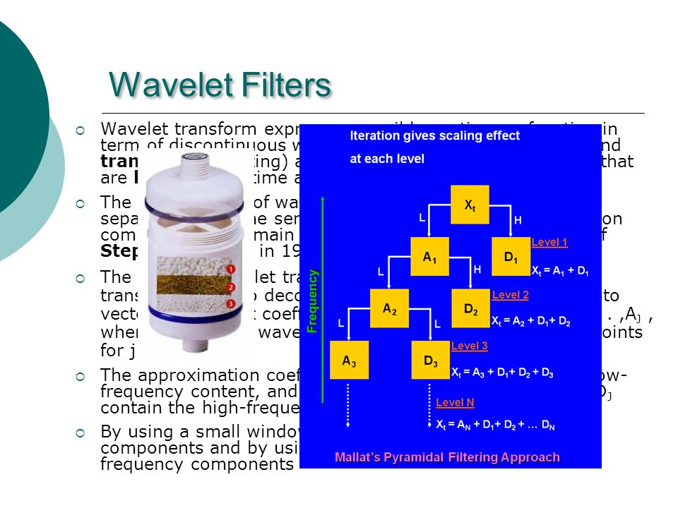 Wavelet Filters Wavelet transform expresses possibly continuous function in term of discontinuous wavelets.