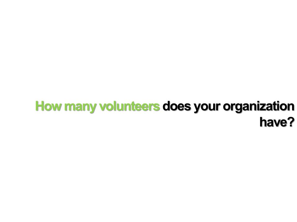 How many volunteers does your organization have?