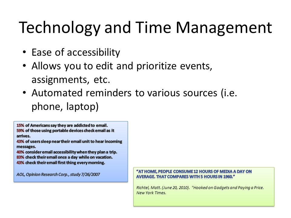 Technology and Time Management Ease of accessibility Allows you to edit and prioritize events, assignments, etc.