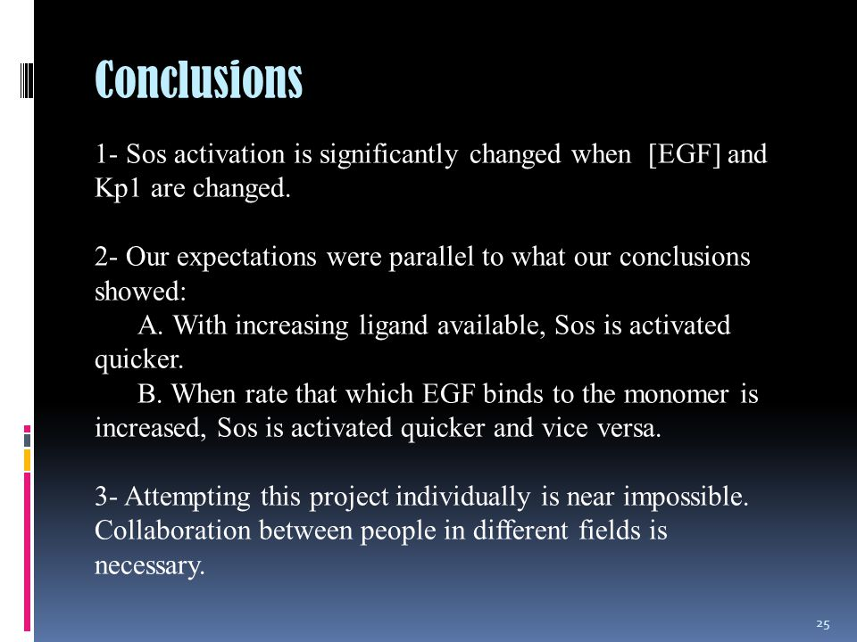 Conclusions 25 1- Sos activation is significantly changed when [EGF] and Kp1 are changed.