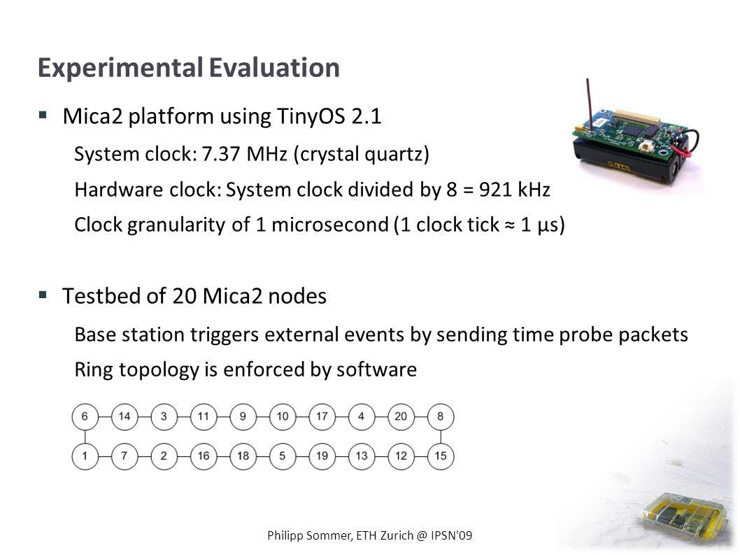 Experimental Evaluation Mica2 platform using TinyOS 2.1 System clock: 7.37 MHz (crystal quartz) Hardware clock: System clock divided by 8 = 921 kHz Cl