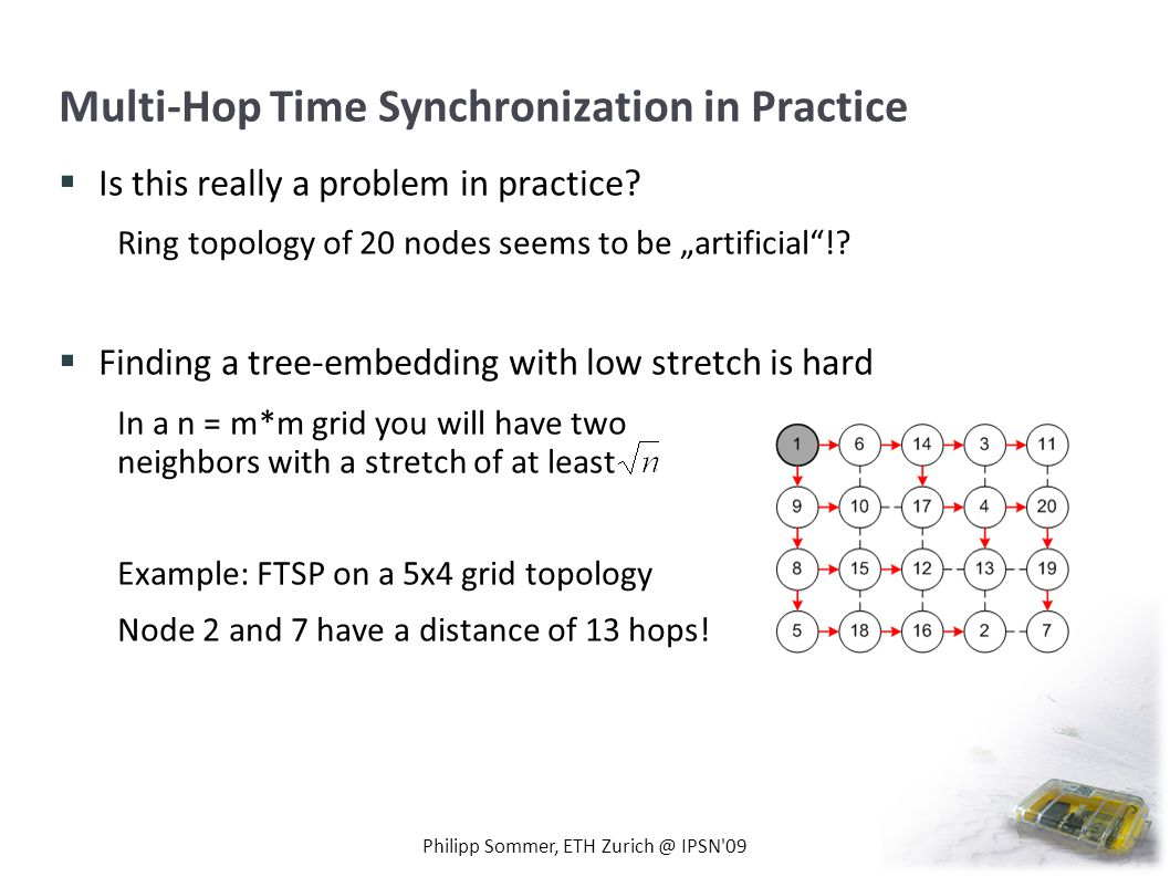 Multi-Hop Time Synchronization in Practice Is this really a problem in practice? Ring topology of 20 nodes seems to be artificial!? Finding a tree-emb