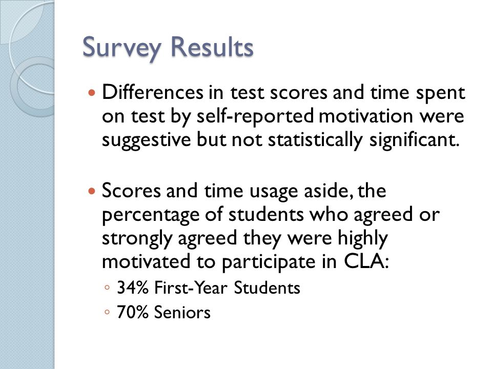 Survey Results Differences in test scores and time spent on test by self-reported motivation were suggestive but not statistically significant.