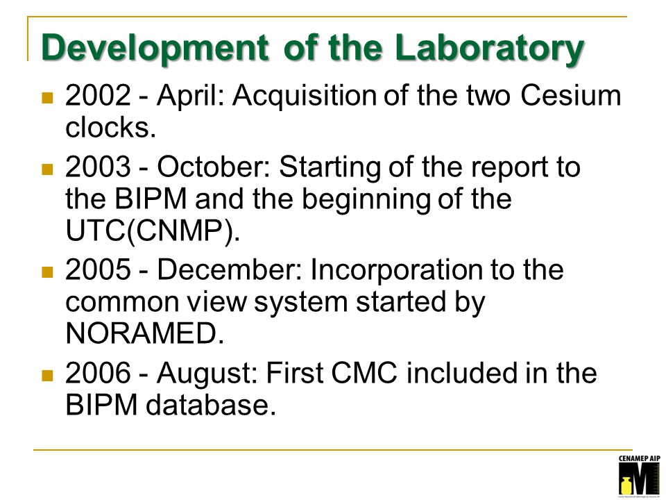 Development of the Laboratory 2002 - April: Acquisition of the two Cesium clocks.