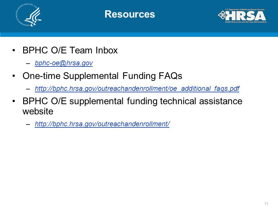 Resources BPHC O/E Team Inbox –bphc-oe@hrsa.govbphc-oe@hrsa.gov One-time Supplemental Funding FAQs –http://bphc.hrsa.gov/outreachandenrollment/oe_additional_faqs.pdfhttp://bphc.hrsa.gov/outreachandenrollment/oe_additional_faqs.pdf BPHC O/E supplemental funding technical assistance website –http://bphc.hrsa.gov/outreachandenrollment/http://bphc.hrsa.gov/outreachandenrollment/ 11