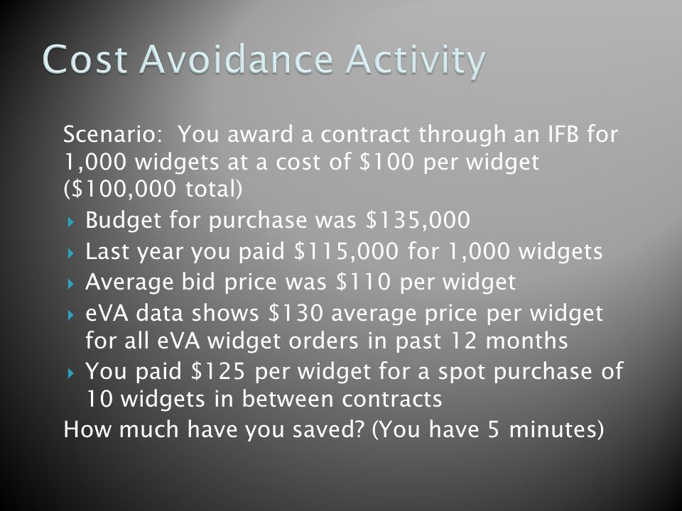 Scenario: You award a contract through an IFB for 1,000 widgets at a cost of $100 per widget ($100,000 total) Budget for purchase was $135,000 Last year you paid $115,000 for 1,000 widgets Average bid price was $110 per widget eVA data shows $130 average price per widget for all eVA widget orders in past 12 months You paid $125 per widget for a spot purchase of 10 widgets in between contracts How much have you saved.