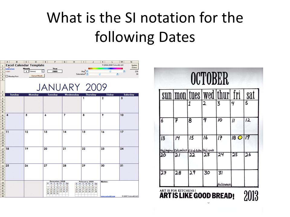 What is the SI notation for the following Dates