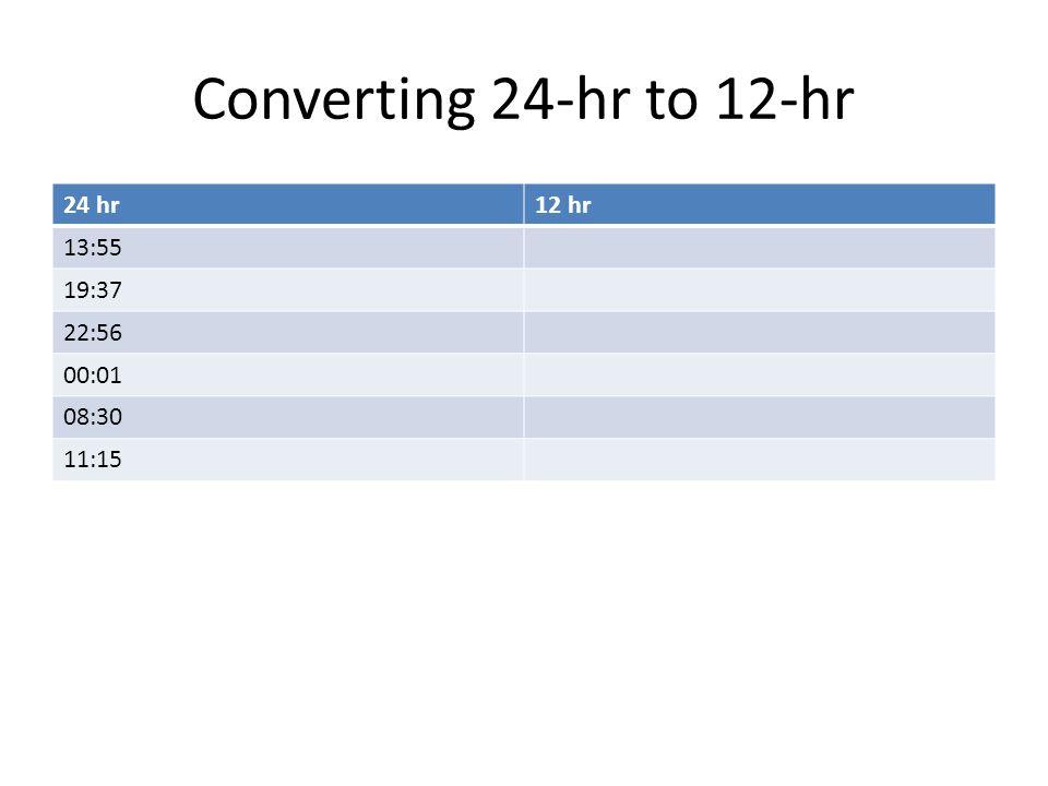 Converting 24-hr to 12-hr 24 hr12 hr 13:55 19:37 22:56 00:01 08:30 11:15