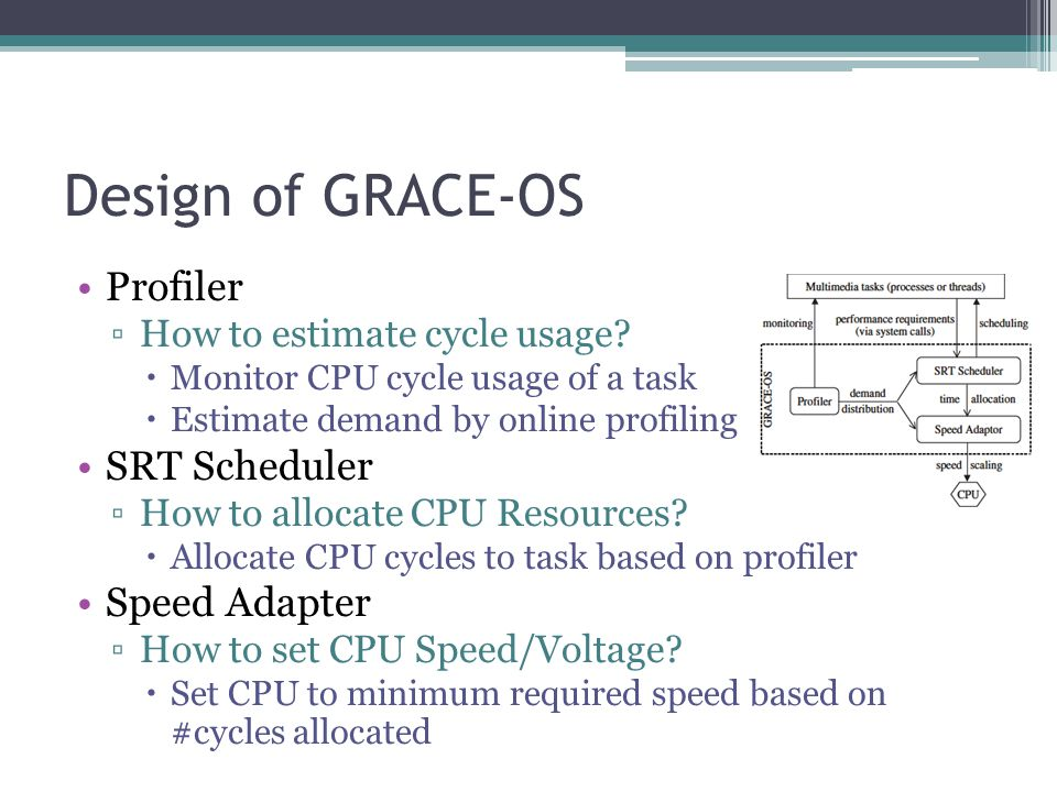 Design of GRACE-OS Profiler How to estimate cycle usage.