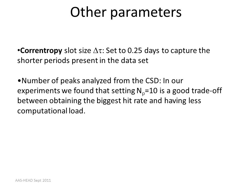 Other parameters Correntropy slot size : Set to 0.25 days to capture the shorter periods present in the data set Number of peaks analyzed from the CSD