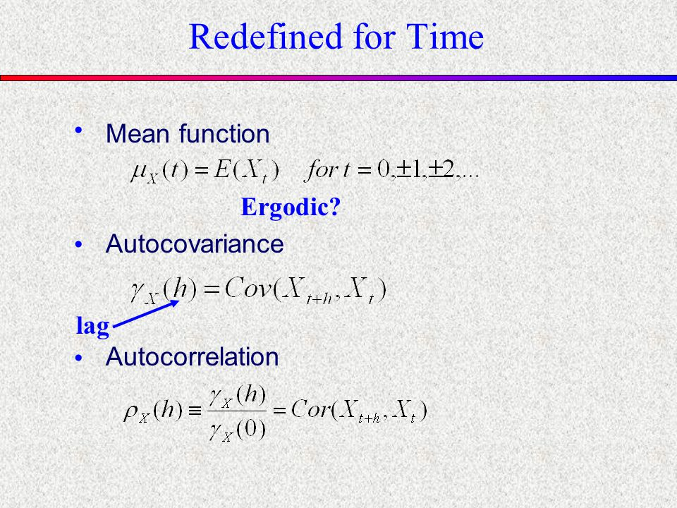 Redefined for Time Ergodic? Mean function Autocorrelation lag Autocovariance