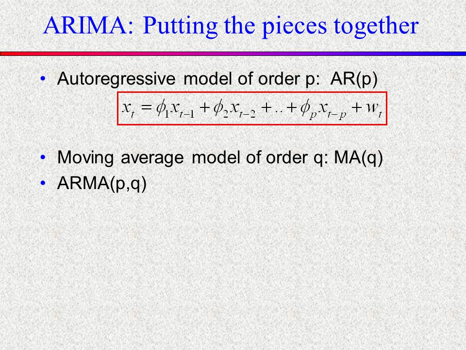 ARIMA: Putting the pieces together Autoregressive model of order p: AR(p) Moving average model of order q: MA(q) ARMA(p,q)
