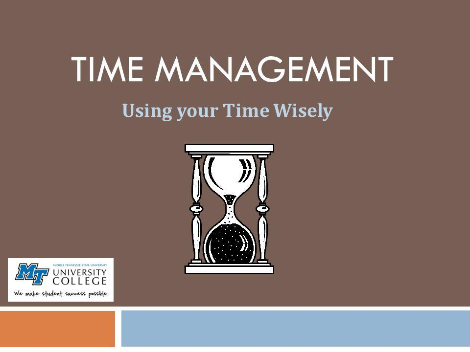 TIME MANAGEMENT Using your Time Wisely