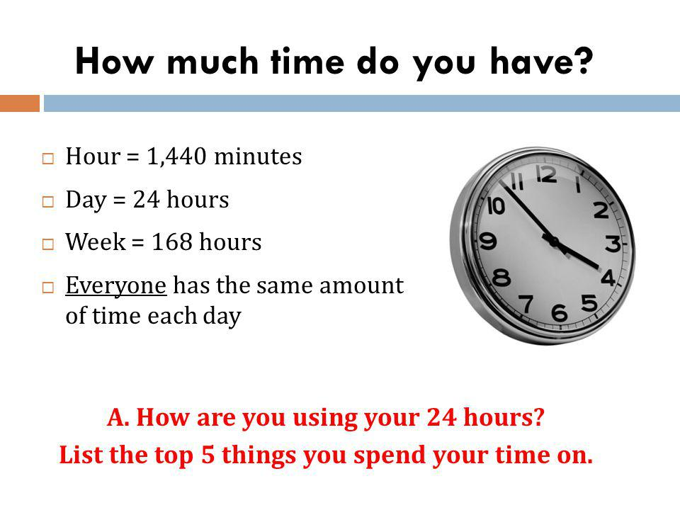 How much time do you have? Hour = 1,440 minutes Day = 24 hours Week = 168 hours Everyone has the same amount of time each day A. How are you using you