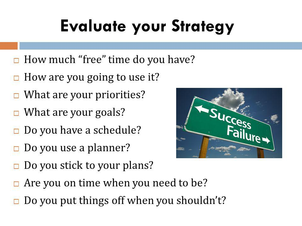 Evaluate your Strategy How much free time do you have.