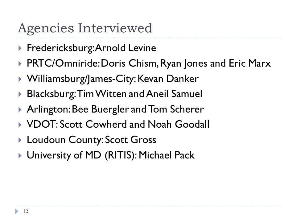 Agencies Interviewed Fredericksburg: Arnold Levine PRTC/Omniride: Doris Chism, Ryan Jones and Eric Marx Williamsburg/James-City: Kevan Danker Blacksbu