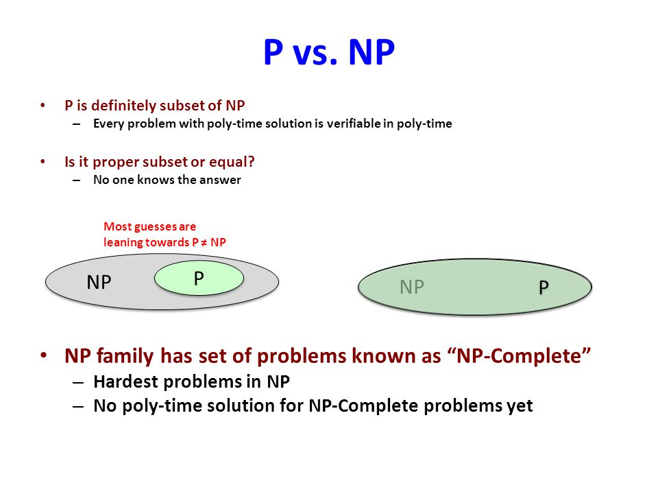 P vs. NP P is definitely subset of NP – Every problem with poly-time solution is verifiable in poly-time Is it proper subset or equal? – No one knows