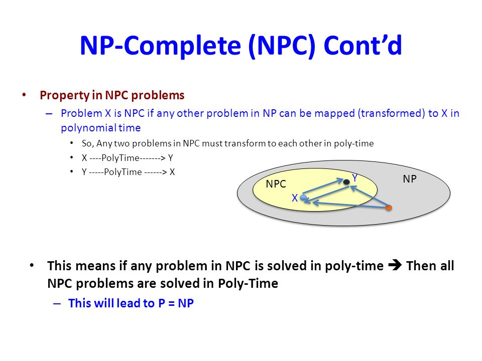NP-Complete (NPC) Contd Property in NPC problems – Problem X is NPC if any other problem in NP can be mapped (transformed) to X in polynomial time So,