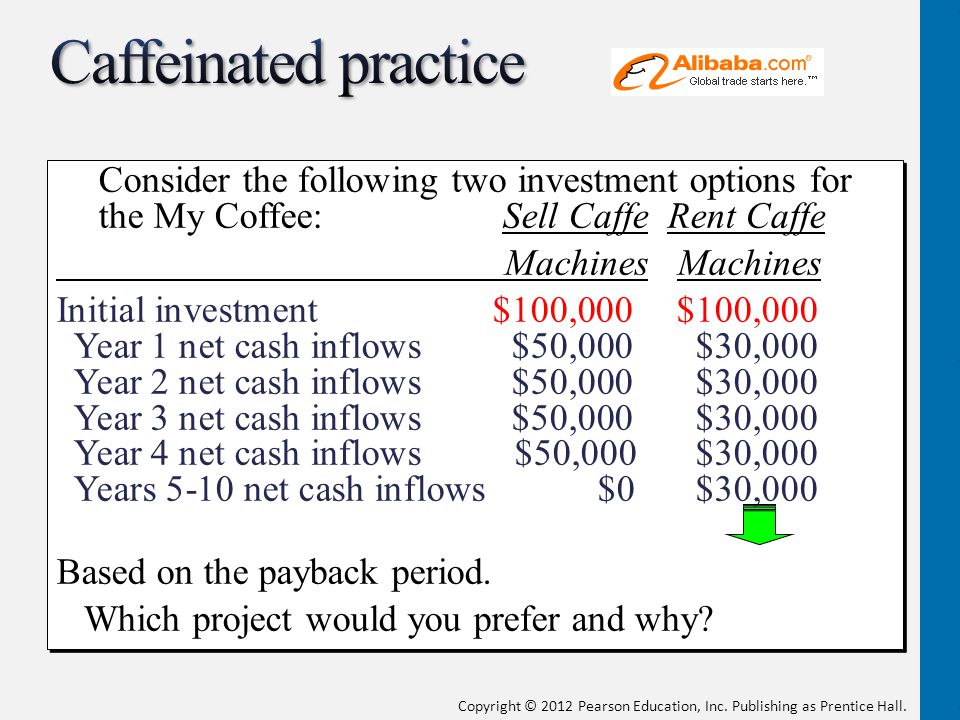 Copyright © 2012 Pearson Education, Inc. Publishing as Prentice Hall. Consider the following two investment options for the My Coffee: Sell Caffe Rent