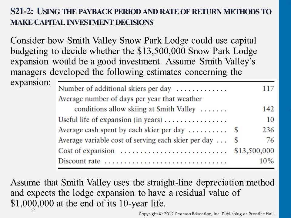 Copyright © 2012 Pearson Education, Inc. Publishing as Prentice Hall. Consider how Smith Valley Snow Park Lodge could use capital budgeting to decide