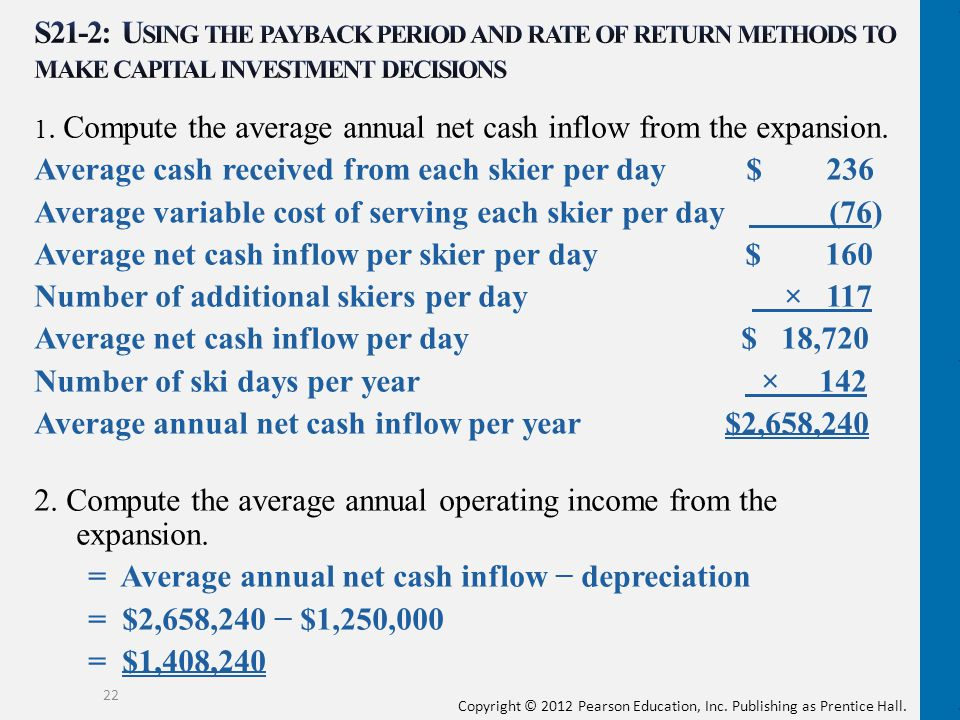 Copyright © 2012 Pearson Education, Inc. Publishing as Prentice Hall. 1. Compute the average annual net cash inflow from the expansion. Average cash r