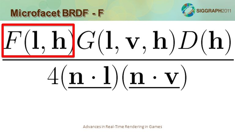 Advances in Real-Time Rendering in Games Microfacet BRDF - F
