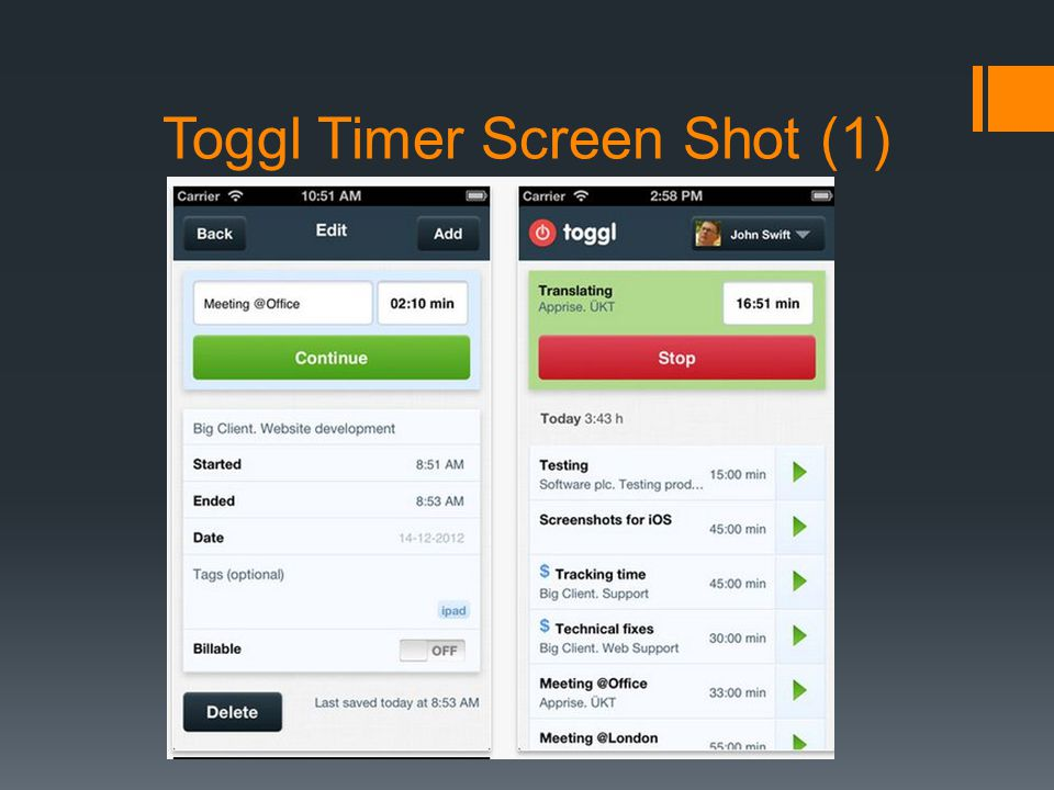 Toggl Timer Screen Shot (1)