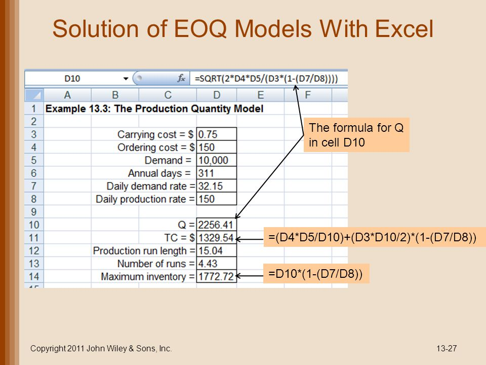 Solution of EOQ Models With Excel Copyright 2011 John Wiley & Sons, Inc.13-27 The formula for Q in cell D10 =(D4*D5/D10)+(D3*D10/2)*(1-(D7/D8)) =D10*(1-(D7/D8))