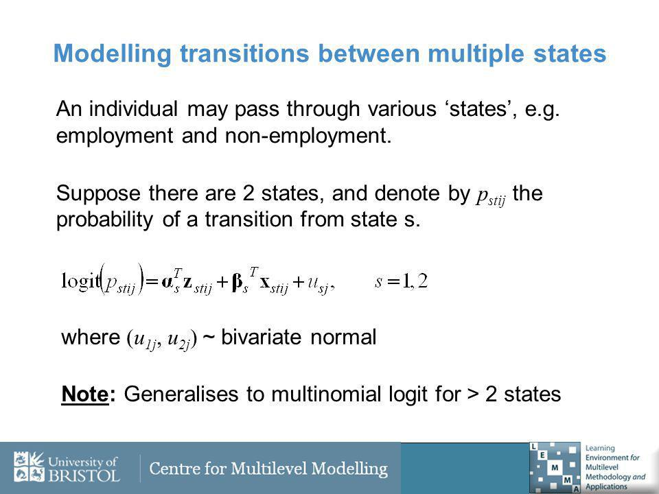 Modelling transitions between multiple states An individual may pass through various states, e.g.