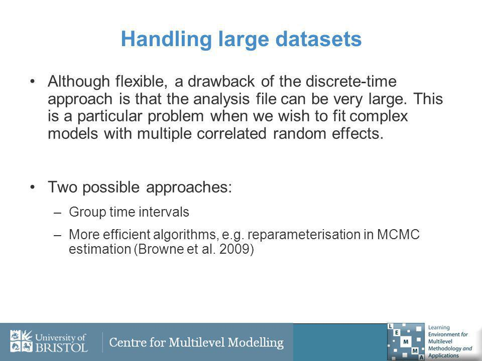 Handling large datasets Although flexible, a drawback of the discrete-time approach is that the analysis file can be very large. This is a particular