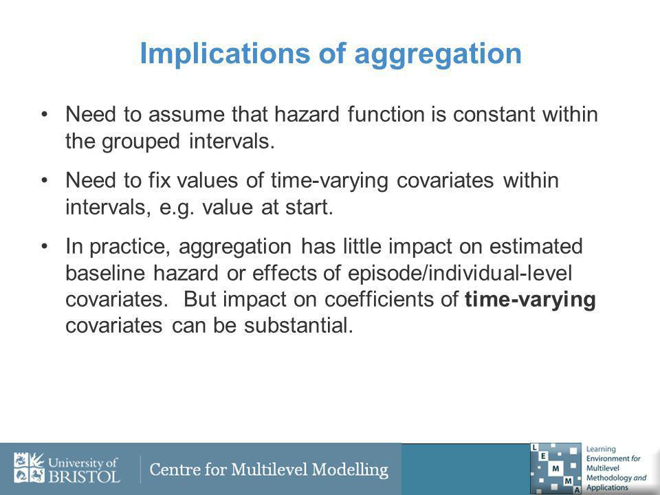 Implications of aggregation Need to assume that hazard function is constant within the grouped intervals. Need to fix values of time-varying covariate