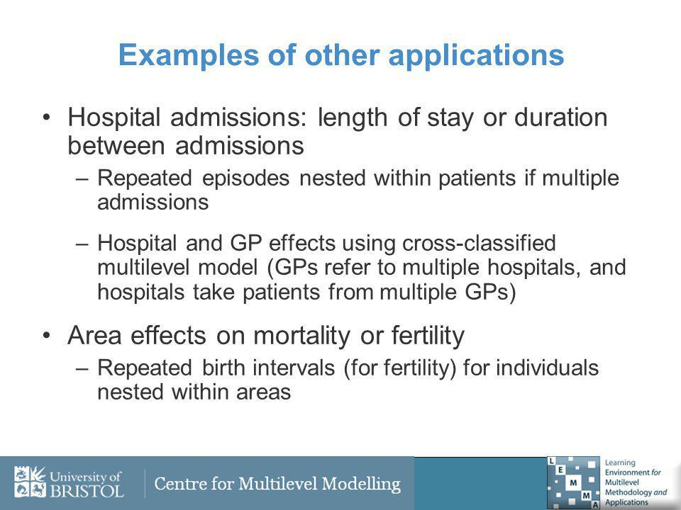 Examples of other applications Hospital admissions: length of stay or duration between admissions –Repeated episodes nested within patients if multipl