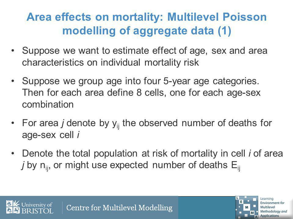 Area effects on mortality: Multilevel Poisson modelling of aggregate data (1) Suppose we want to estimate effect of age, sex and area characteristics on individual mortality risk Suppose we group age into four 5-year age categories.