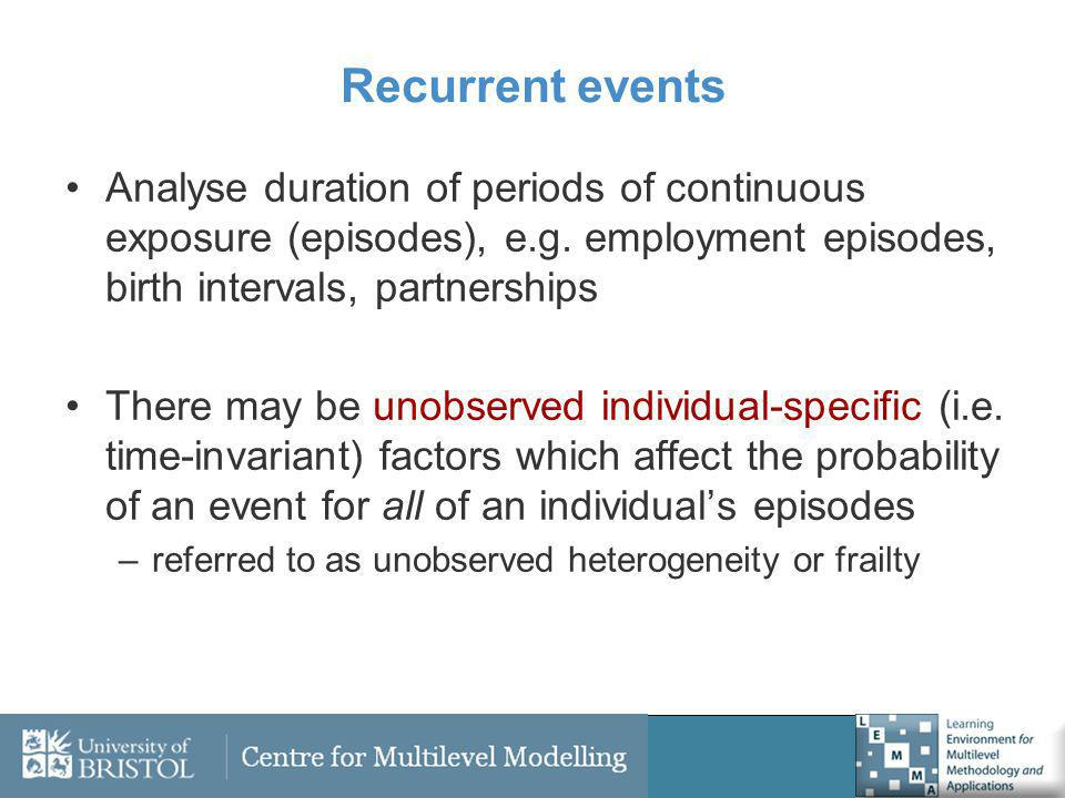 Recurrent events Analyse duration of periods of continuous exposure (episodes), e.g.