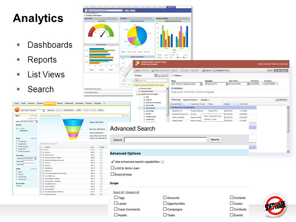 Analytics Dashboards Reports List Views Search