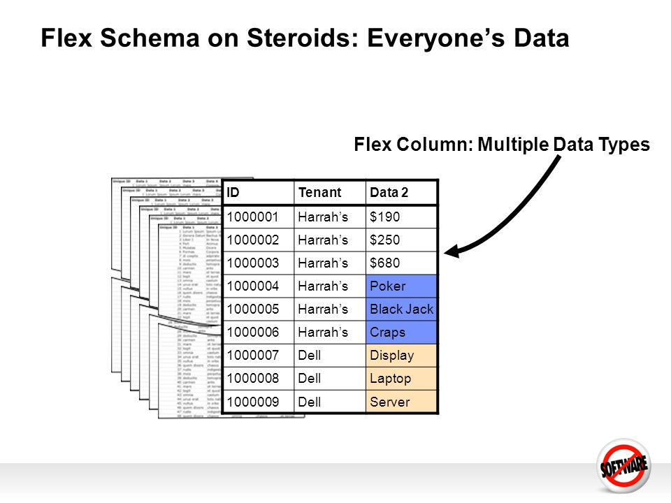 Flex Schema on Steroids: Everyones Data Flex Column: Multiple Data Types IDTenantData 2 1000001Harrahs$190 1000002Harrahs$250 1000003Harrahs$680 10000